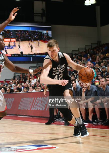 Davis Bertans of the San Antonio Spurs handles the ball against the Portland Trail Blazers during the 2017 Summer League on July 11 2017 at Cox...