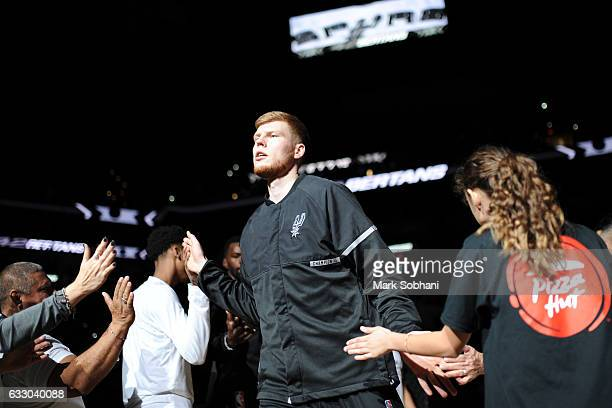 Davis Bertans of the San Antonio Spurs is introduced before the game against the Dallas Mavericks on January 29 2017 at the ATT Center in San Antonio...