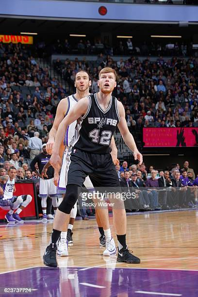 Davis Bertans of the San Antonio Spurs looks on during the game against the Sacramento Kings on November 16 2016 at Golden 1 Center in Sacramento...