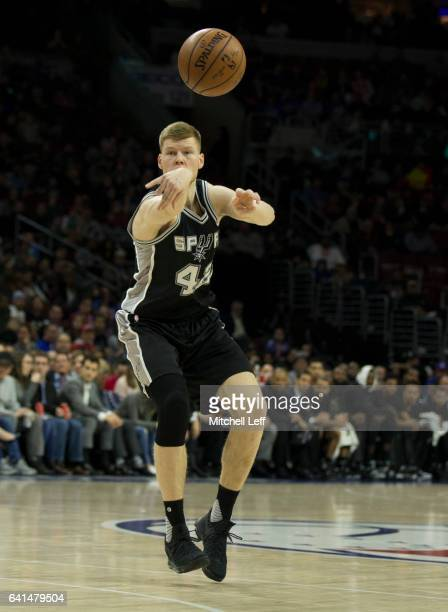 Davis Bertans of the San Antonio Spurs passes the ball against the Philadelphia 76ers at the Wells Fargo Center on February 8 2017 in Philadelphia...