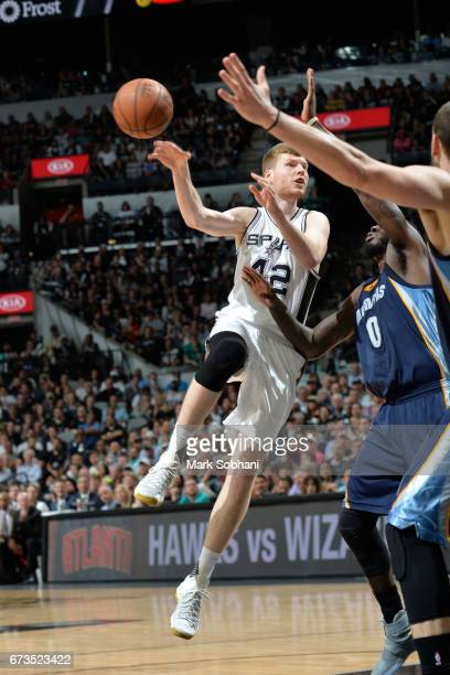 Davis Bertans of the San Antonio Spurs passes the ball against the Memphis Grizzlies during Game Five of the Western Conference Quarterfinals of the...