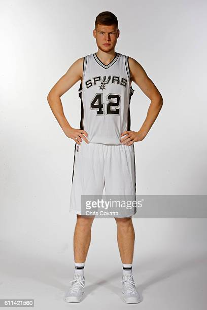Davis Bertans of the San Antonio Spurs poses for a portrait during Media Day at the Spurs Training Facility on September 26 2016 in San Antonio Texas...