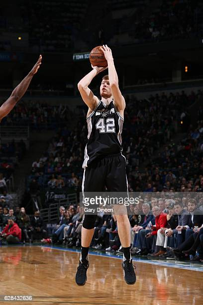 Davis Bertans of the San Antonio Spurs shoots the ball against the Milwaukee Bucks on December 5 2016 at the BMO Harris Bradley Center in Milwaukee...