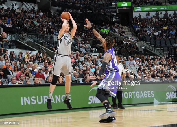 Davis Bertans of the San Antonio Spurs shoots the ball against the Sacramento Kings during the game on March 19 2017 at the ATT Center in San Antonio...