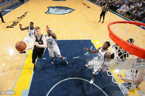 Davis Bertans of the San Antonio Spurs shoots the ball against the Memphis Grizzlies in Game Four of the Eastern Conference Quarterfinals of the 2017...