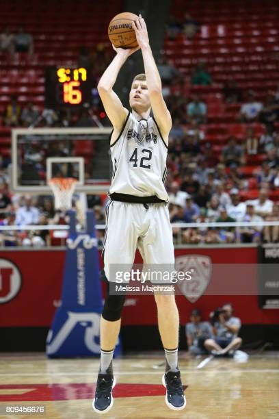 Davis Bertans of the San Antonio Spurs shoots the ball against the Boston Celtics on July 5 2017 at Jon M Huntsman Center in Salt Lake City Utah NOTE...