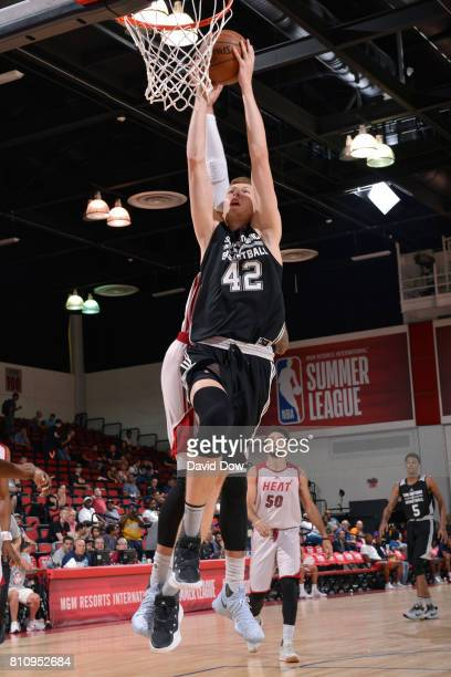 Davis Bertans of the San Antonio Spurs shoots the ball against the Miami Heat during the 2017 Las Vegas Summer League on July 8 2017 at the Cox...