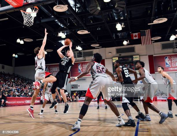 Davis Bertans of the San Antonio Spurs shoots the ball against the Portland Trail Blazers during the 2017 Summer League on July 11 2017 at Cox...