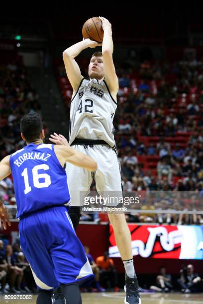 Davis Bertans of the San Antonio Spurs shoots the ball during the game against the Philadelphia 76ers during the 2017 Utah Summer League on July 6...