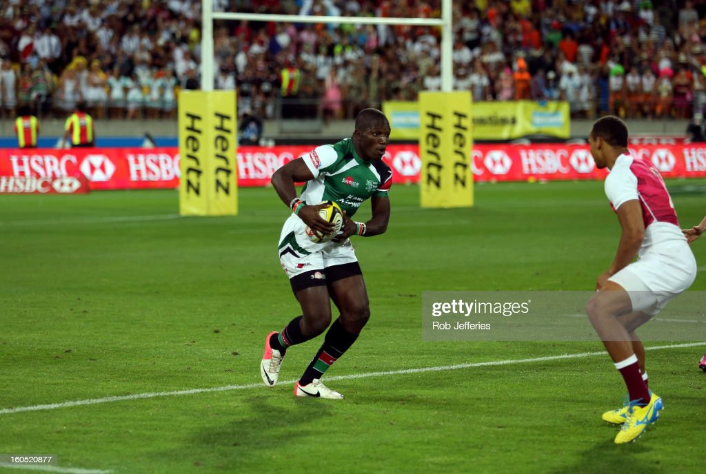 Davis Chenge of Kenya in action during the Hertz Sevens, Round four of the HSBC Sevens World Series Westpac Stadium on February 2, 2013 in Wellington, New Zealand.