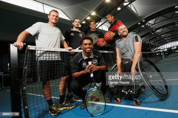 Davis Cup captain Leighton Hewitt poses for a photo with Melbourne United NBL basketballers Chris Goulding and Casper Ware and tennis players Thanasi...