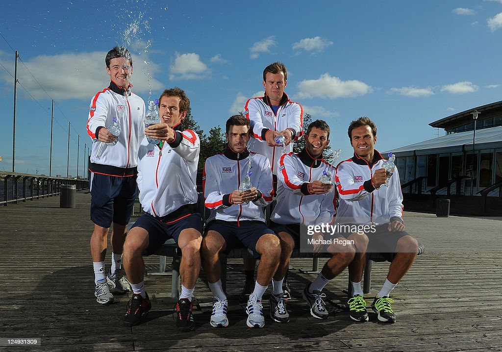 GB Davis Cup team <a gi-track='captionPersonalityLinkClicked' href=/galleries/search?phrase=Jamie+Baker&family=editorial&specificpeople=583109 ng-click='$event.stopPropagation()'>Jamie Baker</a>, <a gi-track='captionPersonalityLinkClicked' href=/galleries/search?phrase=Andy+Murray+-+Tennis+Player&family=editorial&specificpeople=200668 ng-click='$event.stopPropagation()'>Andy Murray</a>, Colin Fleming, captain <a gi-track='captionPersonalityLinkClicked' href=/galleries/search?phrase=Leon+Smith+-+Tennis+Coach&family=editorial&specificpeople=12698515 ng-click='$event.stopPropagation()'>Leon Smith</a>, James Ward and <a gi-track='captionPersonalityLinkClicked' href=/galleries/search?phrase=Ross+Hutchins&family=editorial&specificpeople=2365752 ng-click='$event.stopPropagation()'>Ross Hutchins</a> pose ahead of the Davis Cup Tie against Hungary at the Braehead Arena on September 14, 2011 in Glasgow, Scotland.