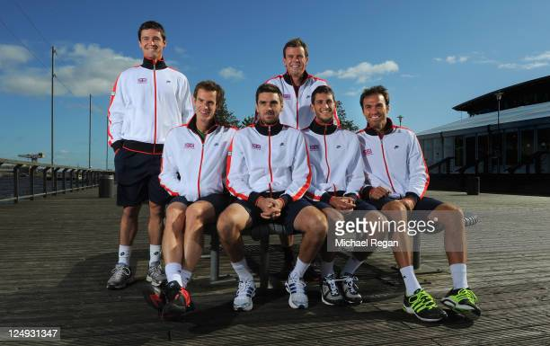 Davis Cup team Jamie Baker Andy Murray Colin Fleming captain Leon Smith James Ward and Ross Hutchins pose ahead of the Davis Cup Tie against Hungary...