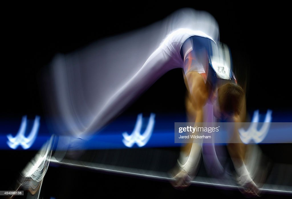 Davis Grooms competes on the high bar in the junior men finals during the 2014 P&G Gymnastics Championships at Consol Energy Center on August 24, 2014 in Pittsburgh, Pennsylvania.