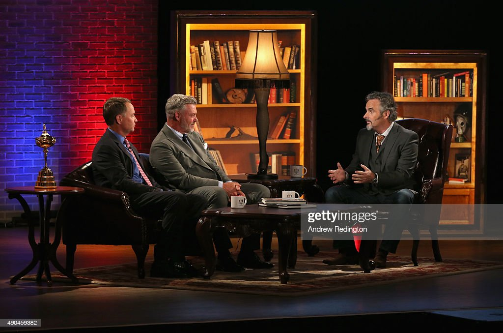Davis Love III Darren Clarke and broadcaster David Feherty are pictured during the 2016 Ryder Cup Captains' Fireside Chat hosted by David Feherty at...