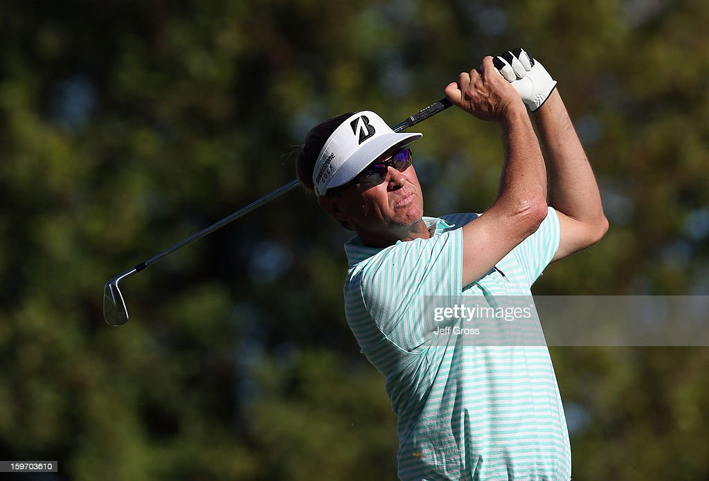 Davis Love III hits a tee shot on the seventh hole during the second round of the Humana Challenge In Partnership With The Clinton Foundation at La Quinta Country Club on January 18, 2013 in La Quinta, California.