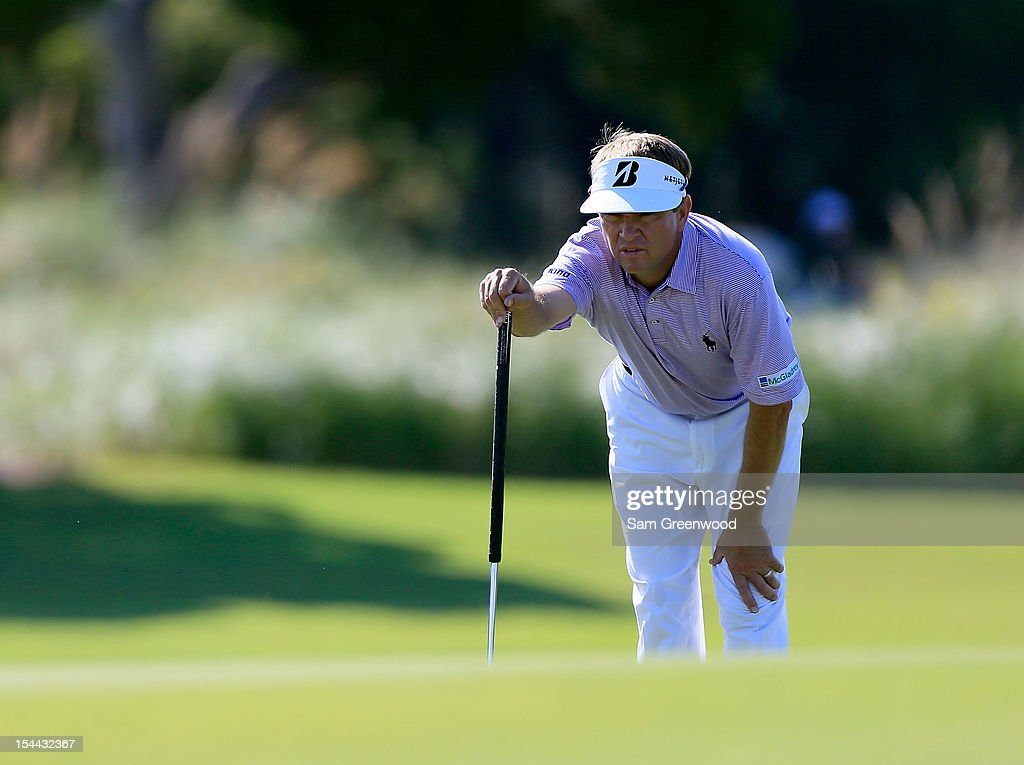 <a gi-track='captionPersonalityLinkClicked' href=/galleries/search?phrase=Davis+Love+III&family=editorial&specificpeople=564618 ng-click='$event.stopPropagation()'>Davis Love III</a> looks over a shot on the 12th hole during the second round of The McGladrey Classic at Sea Island's Seaside Course on October 19, 2012 in Sea Island, Georgia.