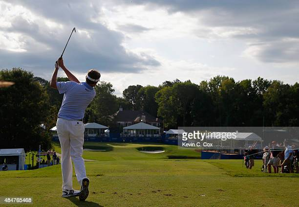 Davis Love III tees off on the 16th hole during the second round of the Wyndham Championship at Sedgefield Country Club on August 21 2015 in...