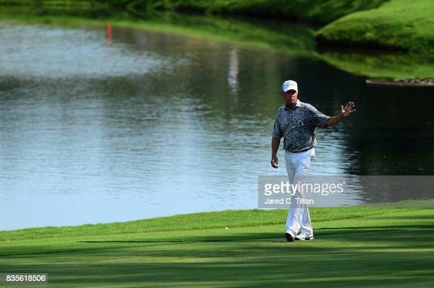 Davis Love III walks up to the 15th green during the third round of the Wyndham Championship at Sedgefield Country Club on August 19 2017 in...