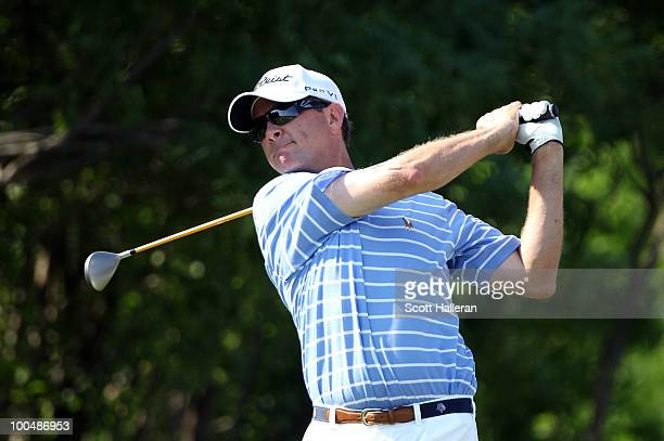 Davis Love III watches a tee shot during the Open Championship International Final Qualifying America at the Gleneagles Country Club on May 24 2010...