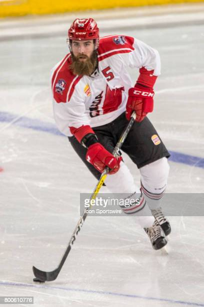 Davis Vandane of Team Canada controls the puck during the Melbourne Game of the Ice Hockey Classic on June 24 2017 held at Hisence Arena Melbourne...