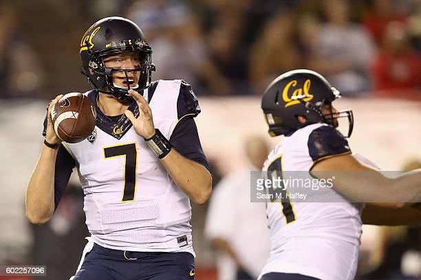 Davis Webb of the California Golden Bears looks to pass during the first quarter of a game against the San Diego State Aztecs at Qualcomm Stadium on...