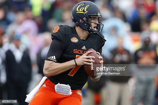 Davis Webb of the South team throws the ball during the first half of the Reese's Senior Bowl against the North team at the LaddPeebles Stadium on...