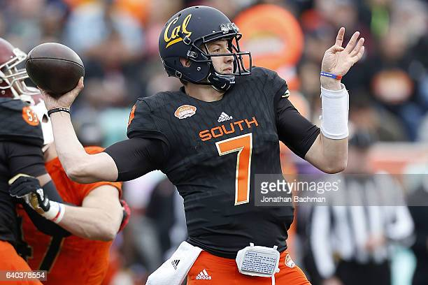 Davis Webb of the South team throws the ball during the Reese's Senior Bowl at the LaddPeebles Stadium on January 28 2017 in Mobile Alabama