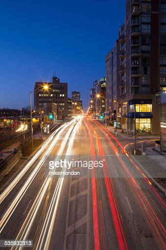 Davisville and Yonge Street at Night : Stock Photo