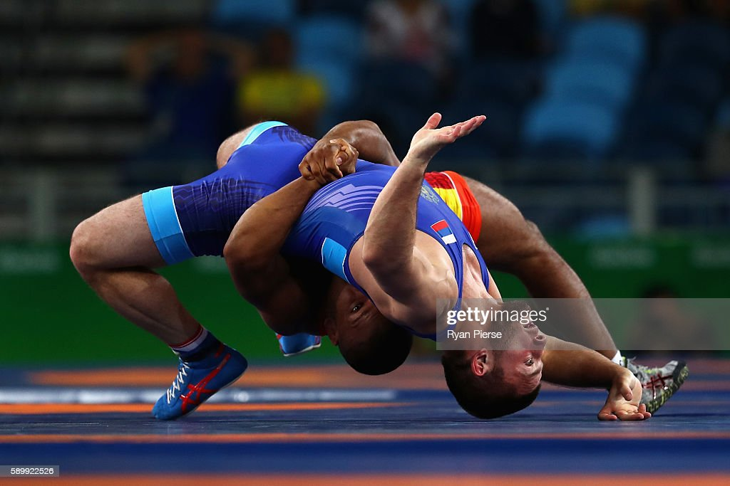 Davit Chakvetadze of Russia and Zhan Beleniuk of Ukraine compete in the Men's GrecoRoman 85 kg Gold Medal bout on Day 10 of the Rio 2016 Olympic...