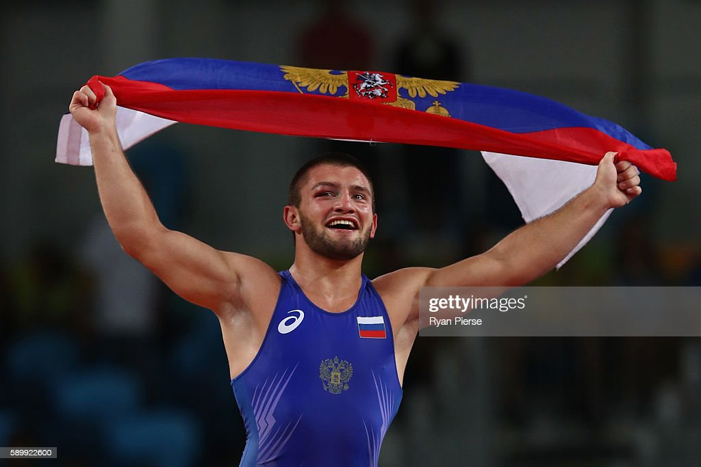 Davit Chakvetadze of Russia celebrates victory over Zhan Beleniuk of Ukraine in the Men's GrecoRoman 85 kg Gold Medal bout on Day 10 of the Rio 2016...