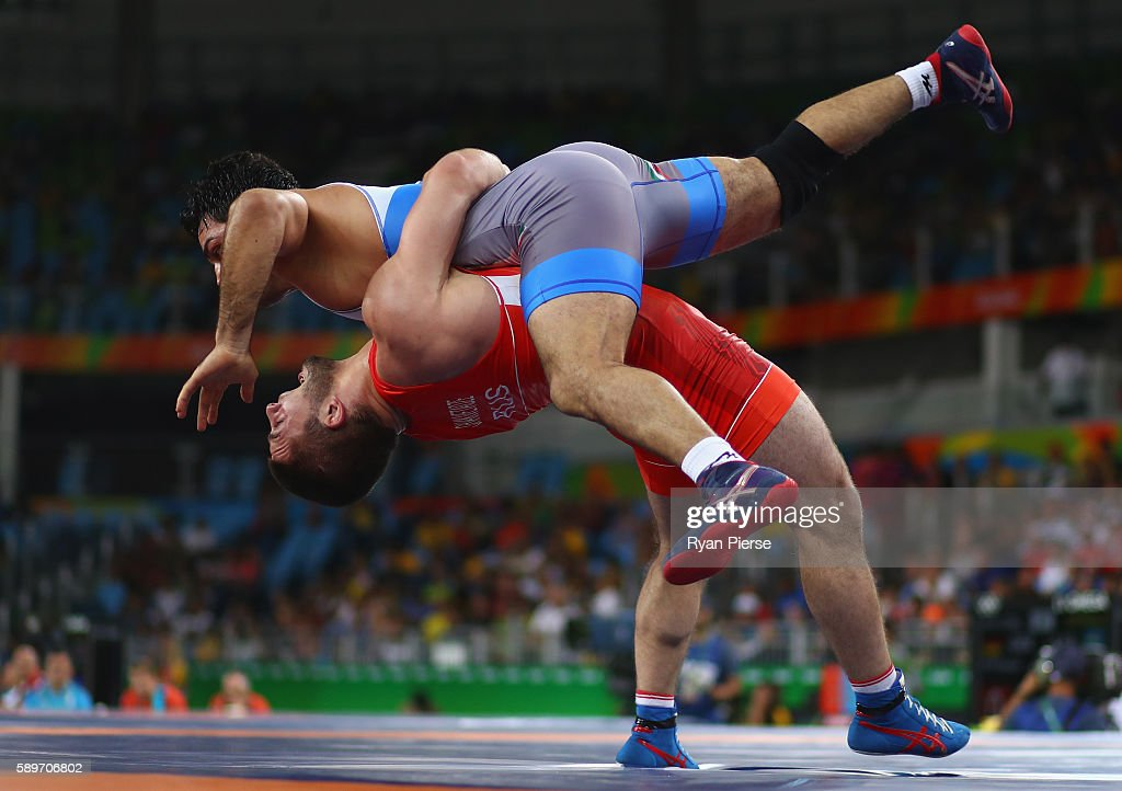 Davit Chakvetadze of Russia competes against Habibollah Jomeh Akhlaghi of Iran during the Men's GrecoRoman 85 kg on Day 10 of the Rio 2016 Olympic...