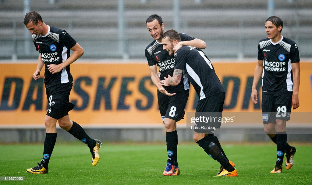 Davit Skhirtladze of Silkeborg IF and Jens Martin Gammelby of Silkeborg IF celebrate after scoring their first goal during the Danish Alka Superliga match between Lyngby BK and Silkeborg IF at Lyngby Stadion on July 16, 2017 in Lyngby, Denmark.