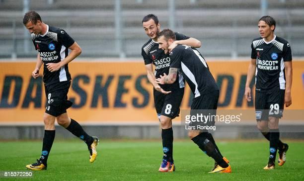 Davit Skhirtladze of Silkeborg IF and Jens Martin Gammelby of Silkeborg IF celebrate after scoring their first goal during the Danish Alka Superliga...
