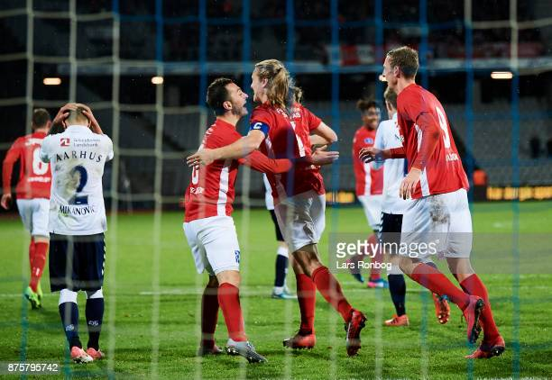 Davit Skhirtladze Simon Skou Jakobsen and Gustaf Nilsson of Silkeborg IF celebrates after scoring their first goal during the Danish Alka Suprliga...