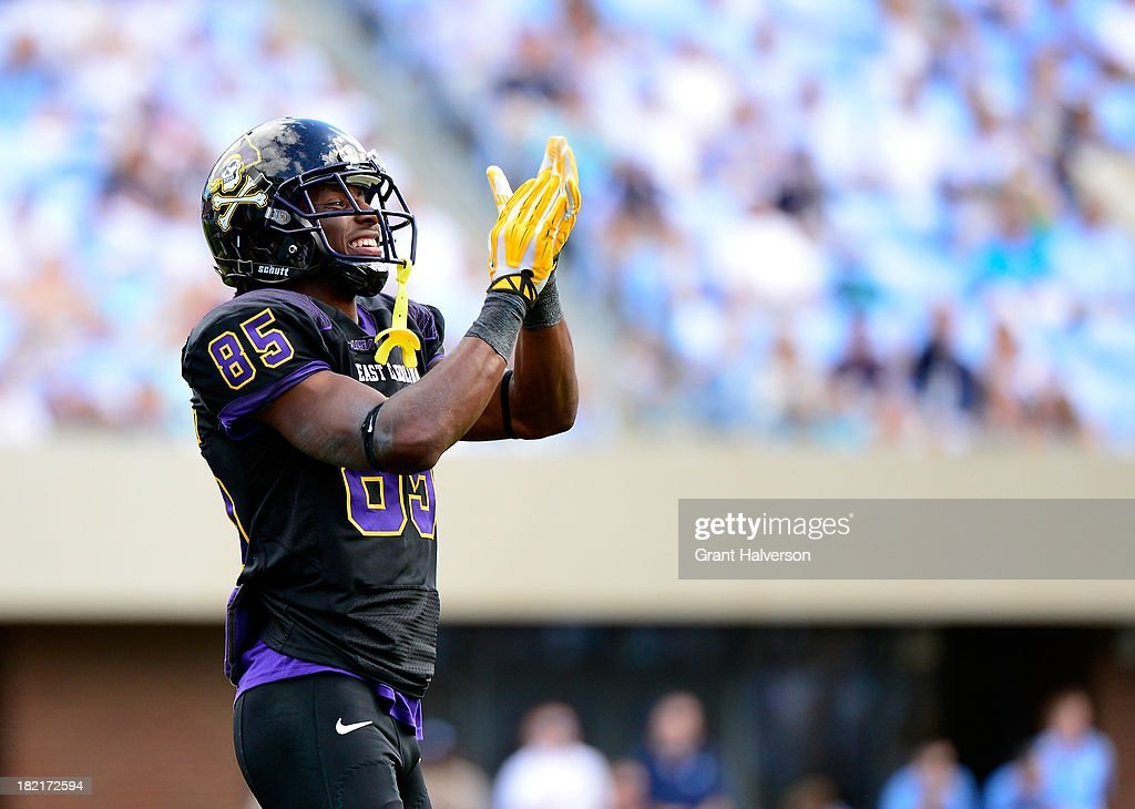 Davon Grayson #85 of the East Carolina Pirates reacts during a win over the North Carolina Tar Heels at Kenan Stadium on September 28, 2013 in Chapel Hill, North Carolina. East Carolina won 55-31.