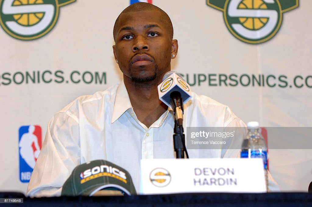 Davon Hardin of the Seattle SuperSonics during a post draft press conference on June 27, 2008 at the Furtado Center in Seattle, Washington.