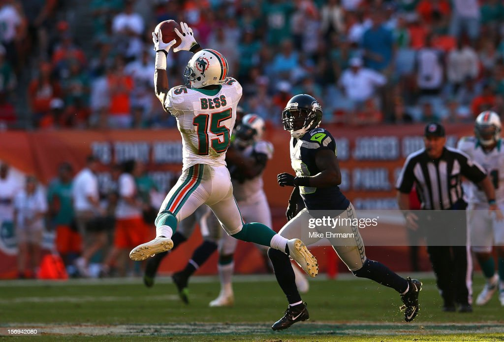 Davone Bess #15 of the Miami Dolphins makes a catch during a game against the Seattle Seahawks at Sun Life Stadium on November 25, 2012 in Miami Gardens, Florida.