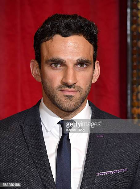 Davood Ghadami arrives for the British Soap Awards 2016 at the Hackney Town Hall Assembly Rooms on May 28 2016 in London England
