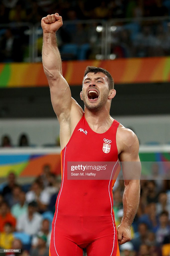 Davor Stefanek of Serbia celebrates after defeating Migran Arutyunyan of Armenia in the Men's Greco-Roman 66 kg Gold Medal bout on Day 11 of the Rio 2016 Olympic Games at Carioca Arena 2 on August 16, 2016 in Rio de Janeiro, Brazil.