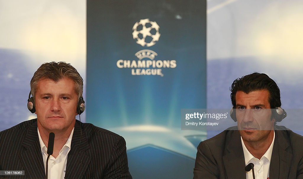 Davor Suker (L) and Luis Figo during a press conference during the UEFA Champions League Trophy Tour 2011 on September 23, 2011 in Moscow, Russia.