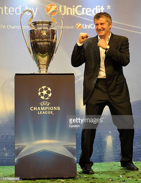 Davor Suker during a press conference at the UEFA Champions League Trophy Tour 2011 on September 30 2011 in Kiev Ukraine