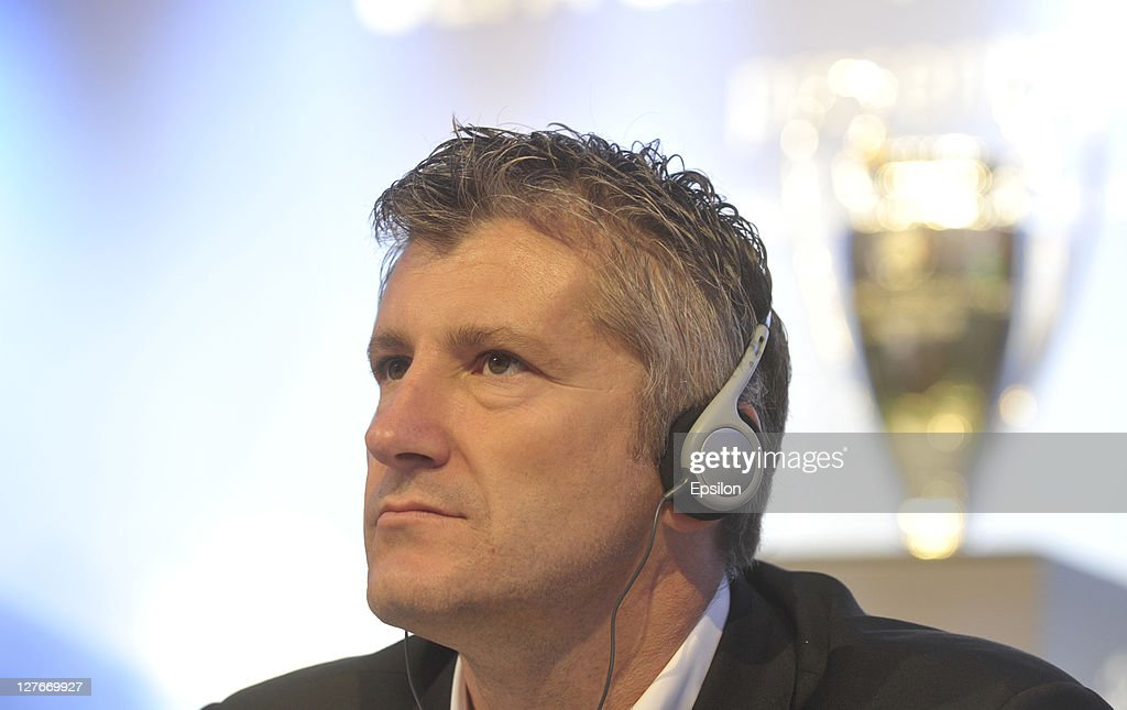 <a gi-track='captionPersonalityLinkClicked' href=/galleries/search?phrase=Davor+Suker&family=editorial&specificpeople=235899 ng-click='$event.stopPropagation()'>Davor Suker</a> during a press conference at the UEFA Champions League Trophy Tour 2011 on September 30, 2011 in Kiev, Ukraine.
