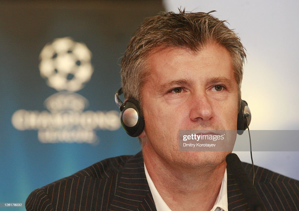 <a gi-track='captionPersonalityLinkClicked' href=/galleries/search?phrase=Davor+Suker&family=editorial&specificpeople=235899 ng-click='$event.stopPropagation()'>Davor Suker</a> during a press conference during the UEFA Champions League Trophy Tour 2011 on September 23, 2011 in Moscow, Russia.