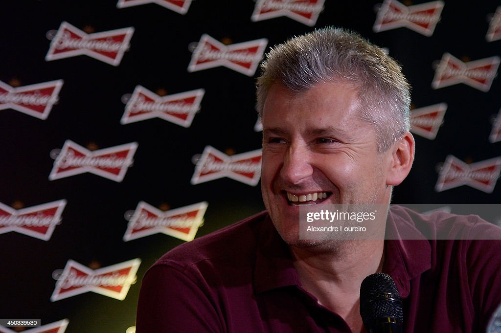 <a gi-track='captionPersonalityLinkClicked' href=/galleries/search?phrase=Davor+Suker&family=editorial&specificpeople=235899 ng-click='$event.stopPropagation()'>Davor Suker</a>, former FIFA World Cup player, talks to the media during the press conference presented by Budweiser at Budweiser Hotel by Pestana on June 9, 2014 in Rio de Janeiro, Brazil.