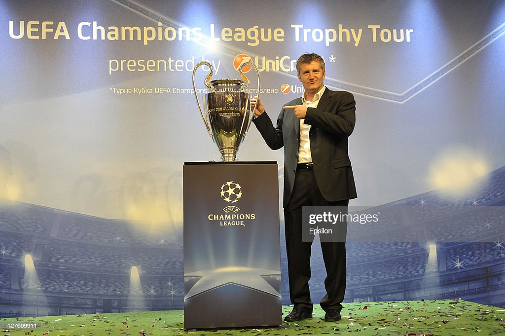 Davor Suker poses during a press conference at the UEFA Champions League Trophy Tour 2011 on September 30, 2011 in Kiev, Ukraine.