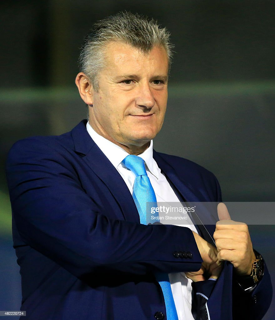 <a gi-track='captionPersonalityLinkClicked' href=/galleries/search?phrase=Davor+Suker&family=editorial&specificpeople=235899 ng-click='$event.stopPropagation()'>Davor Suker</a> President of Croatia Footbal Federation looks on prior the UEFA Champions League Third Qualifying Round 1st Leg match between FC Dinamo Zagreb and FC Molde at Maksimir stadium in Zagreb, Croatia on Tuesday, July 28, 2015.
