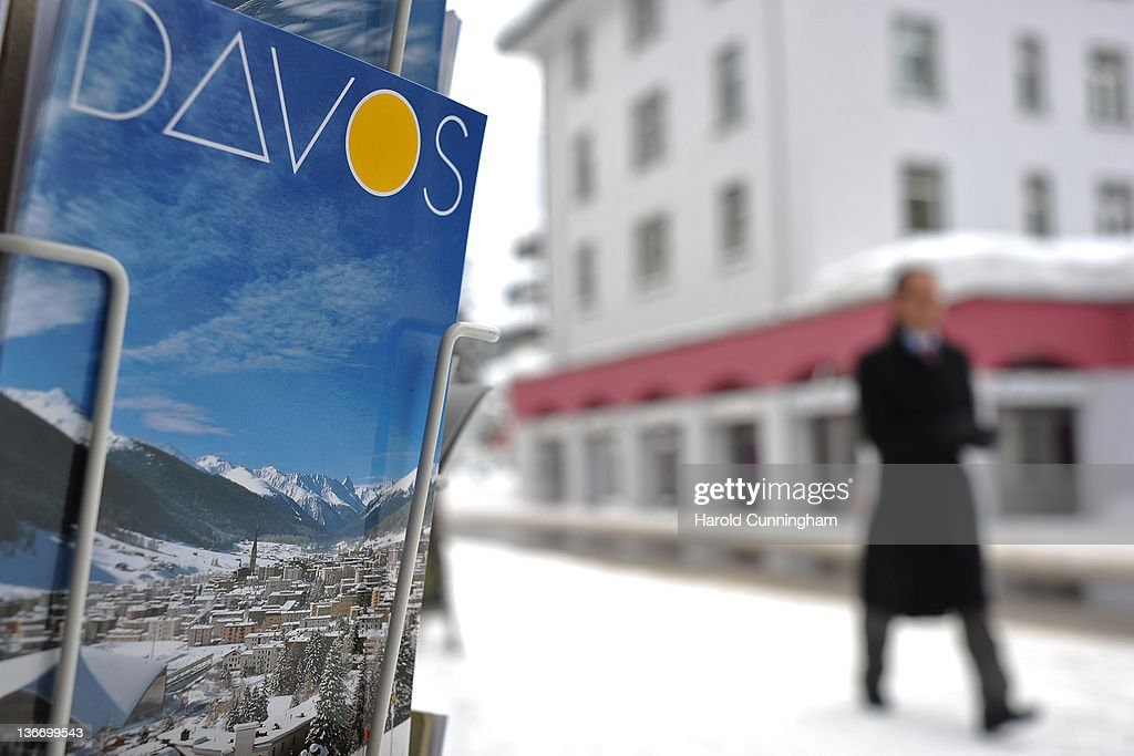 Davos postcard sits on display on January 10 2012 in Davos Switzerland The World Economic Forum which gathers the World's top leaders runs from...