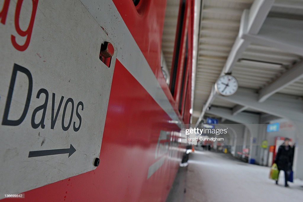 A Davos sign is displayed on a train in Davos Platz Station on January 10, 2012 in Davos, Switzerland. The World Economic Forum, which gathers world top leaders will take place from January 25, 2012 to the 29th.