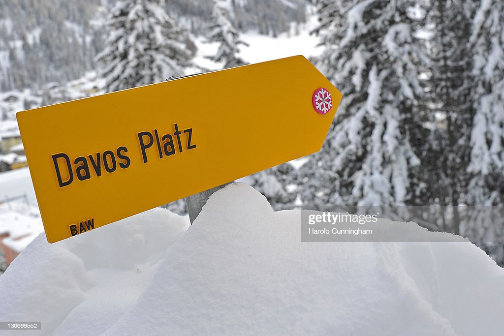 A Davos sign is displayed on January 10, 2012 in Davos, Switzerland. The World Economic Forum, which gathers world top leaders will take place from January 25, 2012 to the 29th.